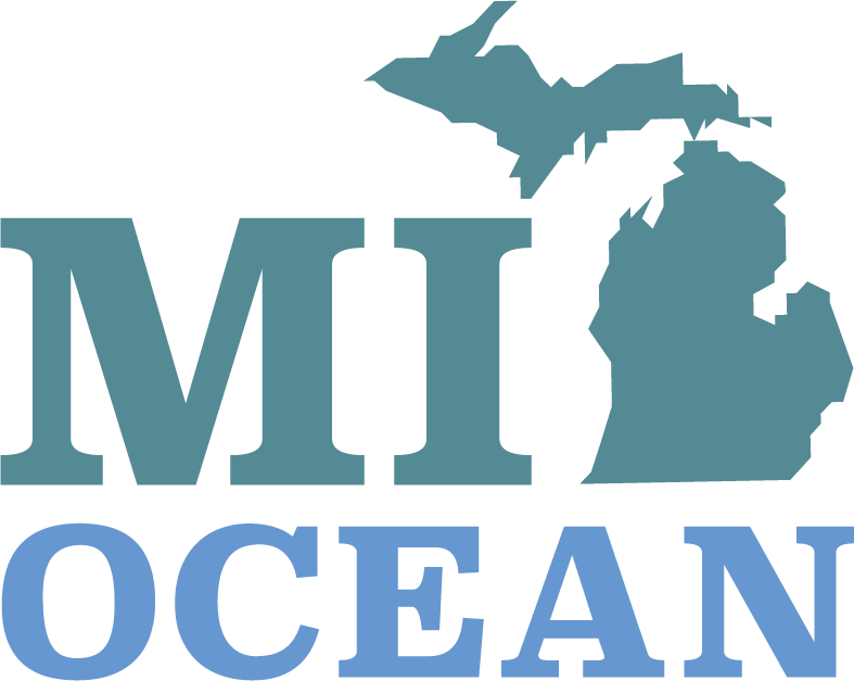 The MI-OCEAN logo. Outline of the state of Michigan and the letters M, I, O, C, E, A, N.